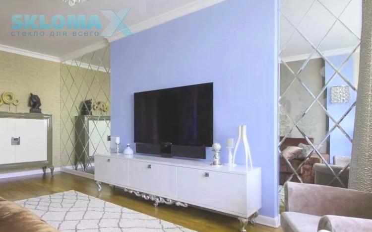 Зеркальная плитка в гостинной Фото
