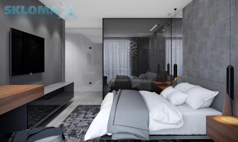 Стеклянная перегородка в интерьере спальни Фото